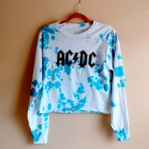 True Vintage AC/DC Long Sleeve Tee Tie Dyed Small